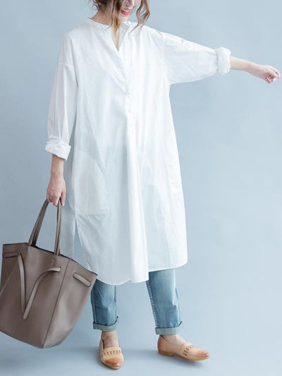Simple Stand Collar Cotton Long Blouse Dress