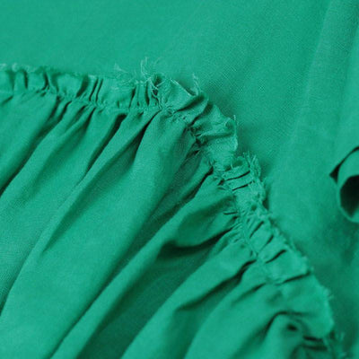 Women Splicing Pleated Short Sleeves Loose Women Green Shirt
