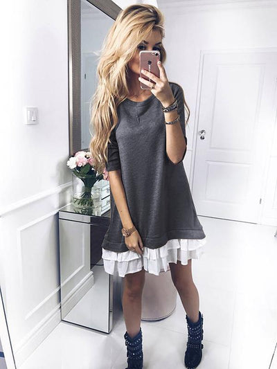 Round-neck Lace Hemline Mini Dress