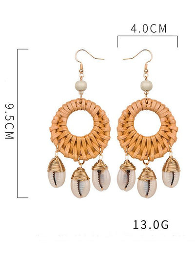 Shell Hollow Rattan  copper wire Earring Accessories