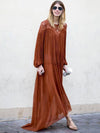 Orange Ruffled Long Sleeves Maxi Dress