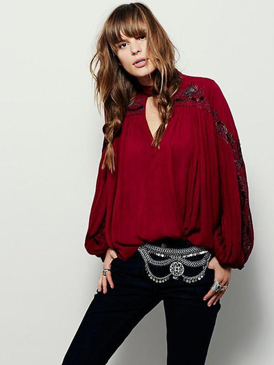 Embroidered Puff Sleeves V-neck Blouse
