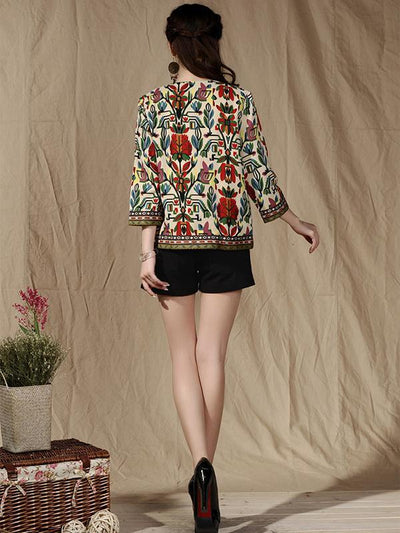 Gypsy Embroidered Round-neck Outwears