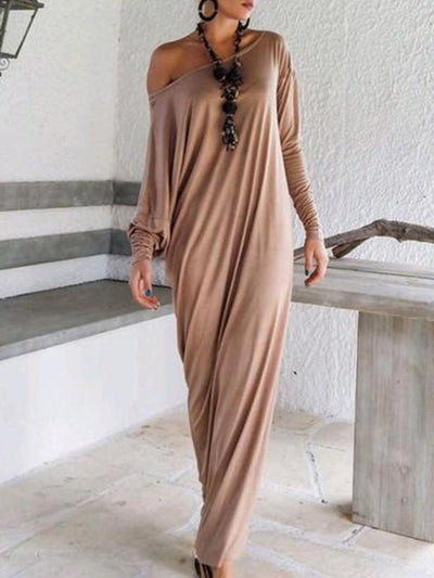Casual Loose Long Dress with Open Shoulder