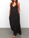 Casual Long Dacron Dress in Black with White Spots