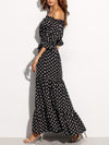 Open Shoulder Long Black Dress with White Spots