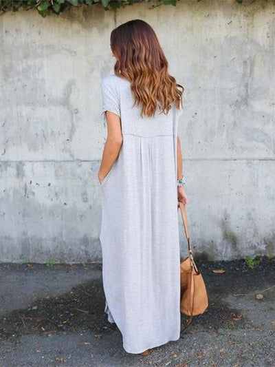 Fashion Simple Casual Long Dress, Black and Grey Color