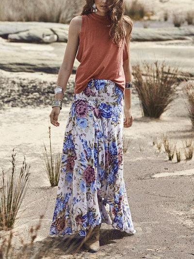Full-length Loosen Vintage Skirt with Floral Print