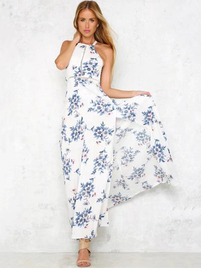 Blue Floral Print Halterneck Sleeveless Maxi Dress
