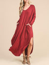 Casual Solid Color Split-side Maxi Dress