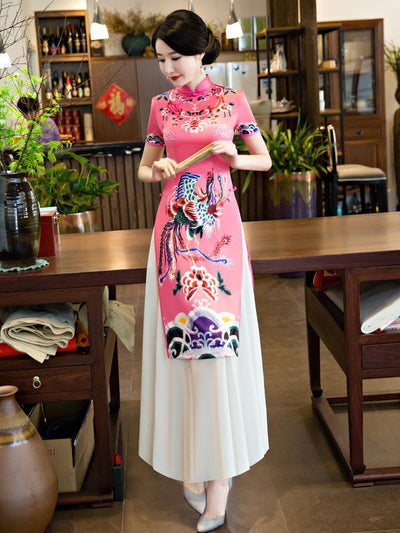Chinese Traditional Pink Dress with Phoenix Print