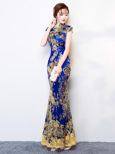 Chinese Traditional Mermaid Evening Dress in Blue Color with Floral Print