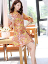 Casual Short Chinese Traditional Mini Dress in Orange Color