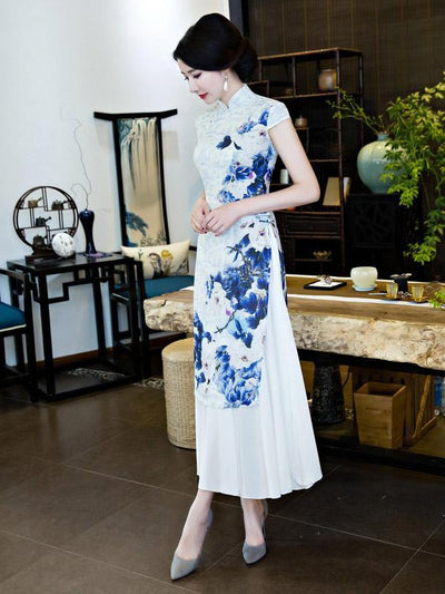 Chinese Traditional Silk Cheongsam Dress with Flower Print
