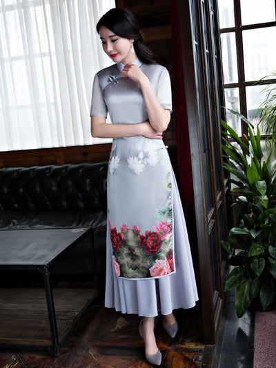 Beautiful Chinese Cheongsam Dress with Floral Print