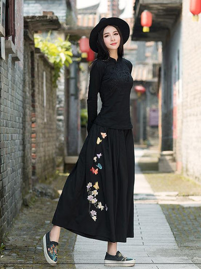 National Embroidered Wide Leg Loose Casual Pant
