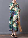 Casual Loosen Long Dress with Lotus Print in Red or Green Color