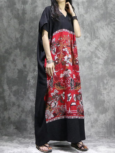 Oriental Style Vocational Linen Long Dress with Chinese Print