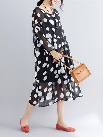 White Spots Casual Two-pieces Medium Dress