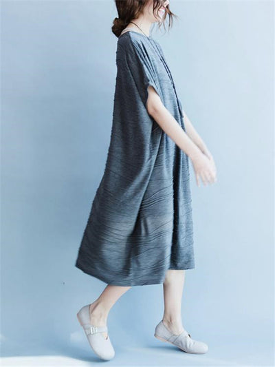 Gray Round Neck Cotton Long Dress
