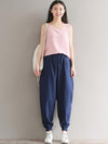 Casual Loosen Broaden Cotton Pants in Blue or Black Color