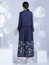 Chinese Style Loosen Dress with Flora Print, Three Colors