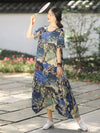 Irregular Split-Joint Ink Printing Maxi Dress