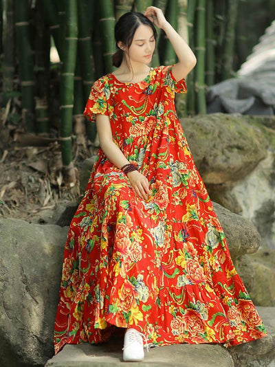 Oriental Floral Print Loosen Dress, Red or Green Color