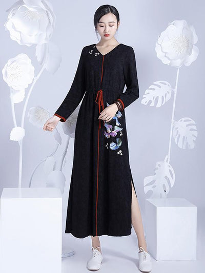 Chinese Classical Loosen V-neck Long Dress with Print
