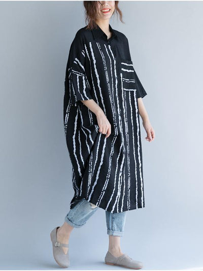Comfortable Striped Split-joint Blouse Dress