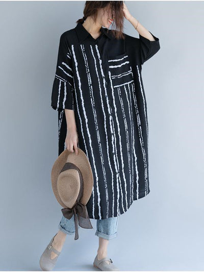 Sunscreen Striped Split Joint Blouse Dress