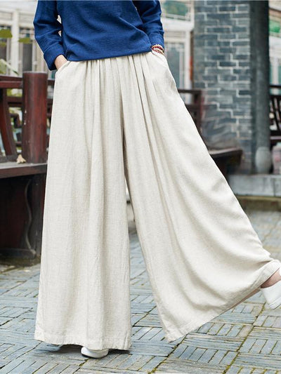 Casual Loosen Comfortable Yoga Pants in Cream Color