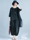 Fashion Casual Loosen Cotton Combo Suit in Black Color