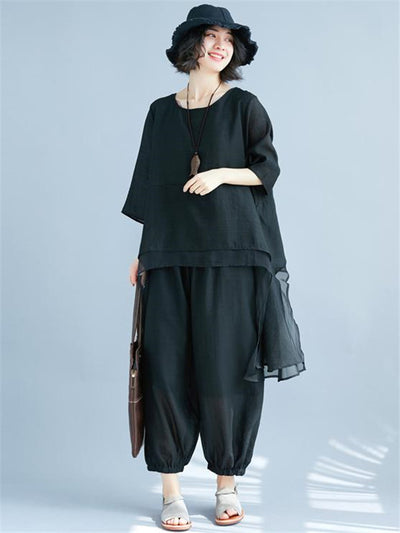 Black Loose Comfotable Suits