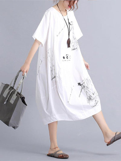 White Cotton Printed Long Dress