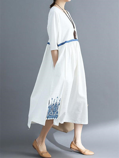 Embroidered Split Stitching Long Dress