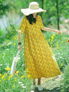 Fresh Floral Printed Yellow Long Dress