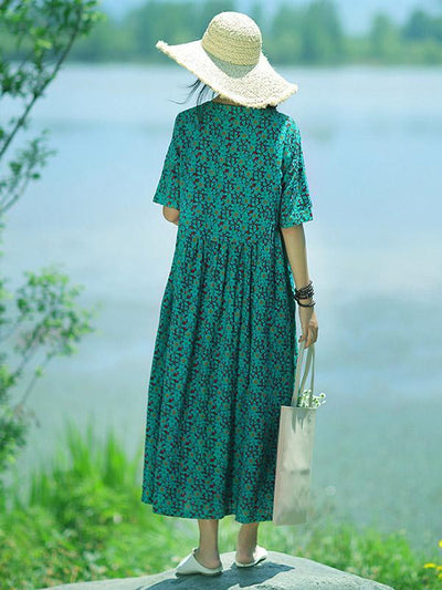 Fresh Floral Printed Green Long Dress