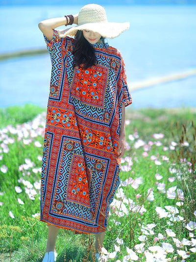 Original Authentic Ornament Long Dress in Red Color