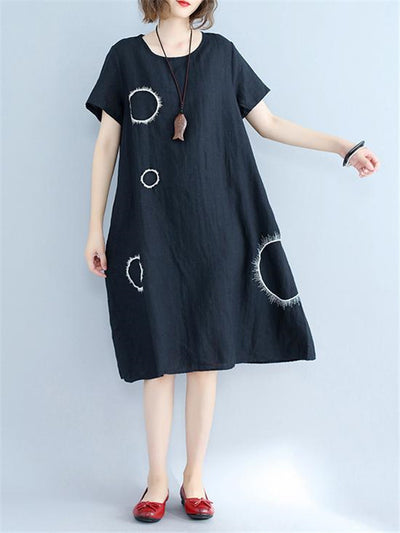 Circle Dot Round Neck Cotton Dress