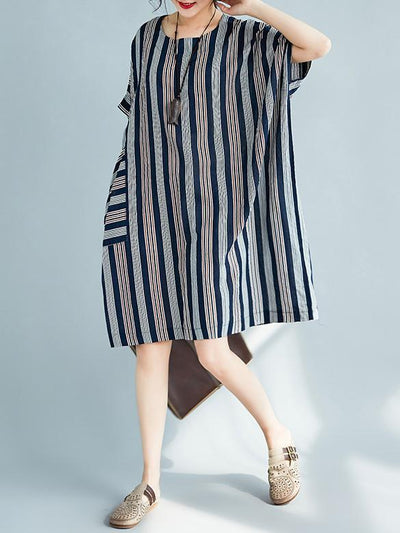 Colorful Striped Pocket Shirt Dress