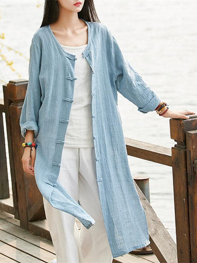 Chinese Style Cotton Outwear Cardigan in Blue and Red Color