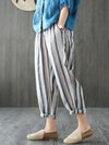 Loose Comfortable Striped Ninth Harem Pants