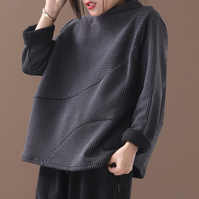 Plus Size - Casual Loose Striped Thermal Sweatshirt