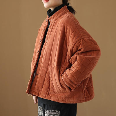Plus Size - Winter Checks Casual Stand Collar Cotton-padded Coat