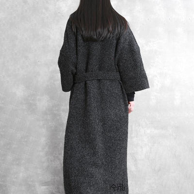 Plus Size - Simple V-neck Thermal Autumn Winter Woolen Coat