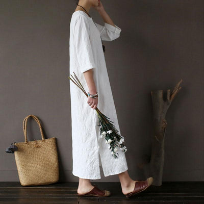 Women Cotton Jacquard Literature Retro Elbow Sleeve White Dress