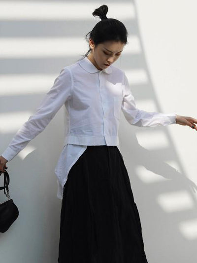 WHITE HIGH-LOW SPLIT-JOINT LAPEL BLOUSE