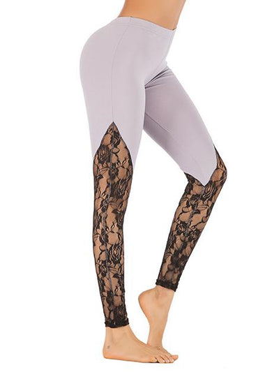 Lace Stiched Breathable Yoga Leggings