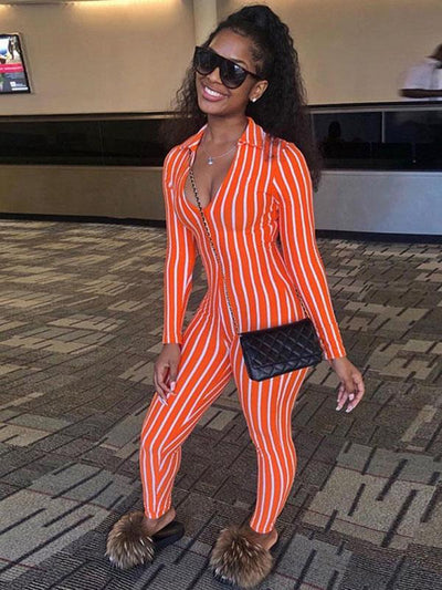 V-neck Striped Sports Jumpsuits